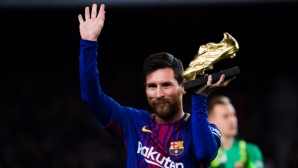 Messi picked up two trophies and said, `It would be great to send the year to Bernabeu