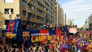 Barca celebrated the double with the fans